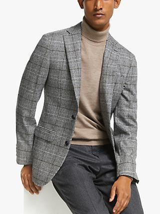 John Lewis & Partners Overcheck Tailored Fit Blazer, Black / White