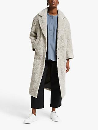 Kin Textured Cocoon Coat, Grey