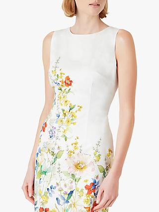 Hobbs Fiona Floral Print Mini Dress, Ivory/Multi