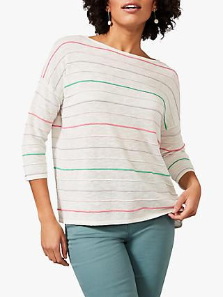 Phase Eight Miley Linen Blend Stripe Top, Multi