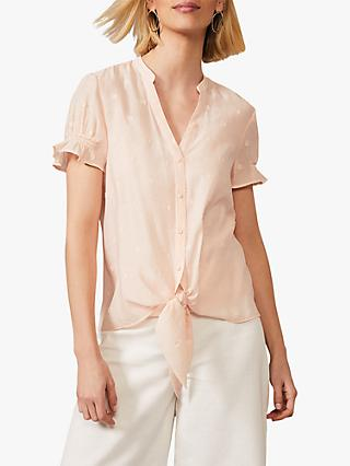 Phase Eight Spot Jacquard Knot Detail Shirt, Soft Pink