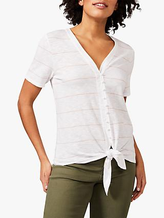 Phase Eight Winry Striped Button Front Tie Hem Top, Ivory/Pink