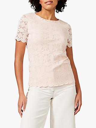 Phase Eight Louisa Floral Lace Scallop Detail Blouse, Soft Pink