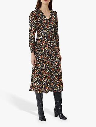 Warehouse Rose Print Midi Dress, Multi
