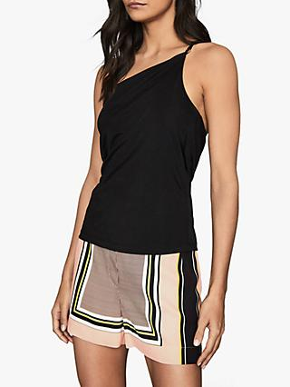 Reiss Clea Metal Strappy Top, Black