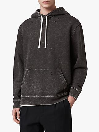 AllSaints Reid Acid Washed Hoodie, Black