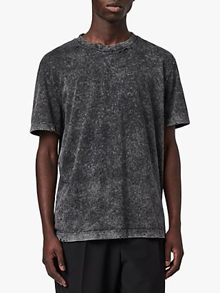 AllSaints Sett Crew T-Shirt, Acid Washed Black