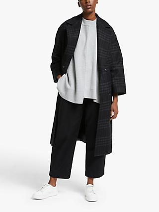 Kin Utility Check Cocoon Coat, Black