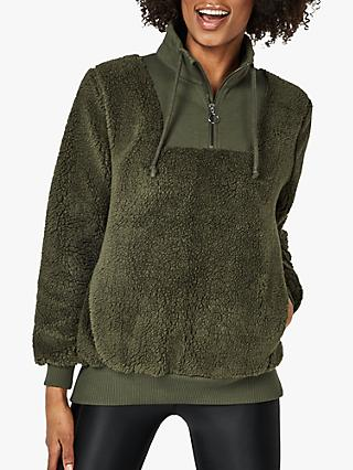 Sweaty Betty Sherpa Half Zip Jacket, Dark Forest Green