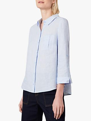 Jaeger Fine Stripe Linen Shirt, Blue/White
