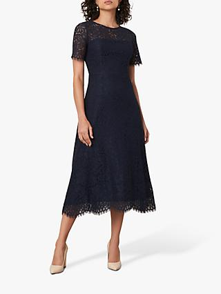 Jaeger Fitted Lace Midi Dress, Navy