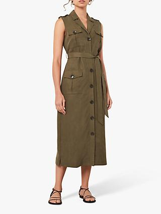 Jaeger Sleveless Button Front Midi Dress, Khaki
