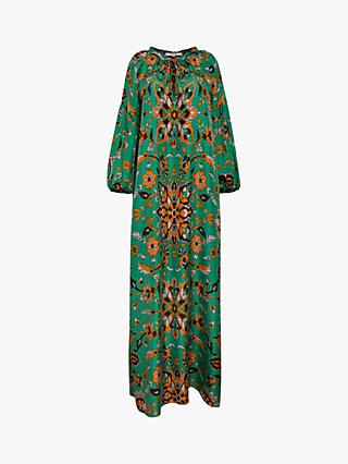 Gerard Darel Salma Silk Floral Print Dress, Green