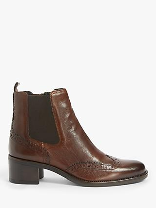 John Lewis & Partners Odie Leather Ankle Boots, Dark Brown