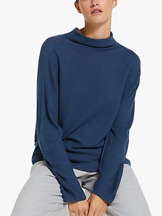 Modern Rarity Merino Textured Batwing Jumper, Deep Blue