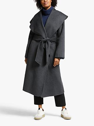 Modern Rarity Double Faced Shawl Coat, Charcoal