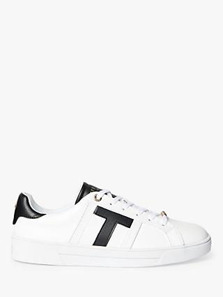 Ted Baker Tenperf T Bar Leather Trainers, White