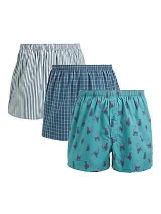John Lewis & Partners Organic Cotton Lemur Print Boxers, Pack of 3, Jade/Multi
