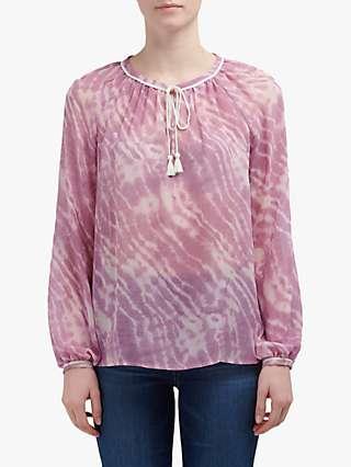 Paige Clarissa Print Silk Blouse, Lilac Sachet