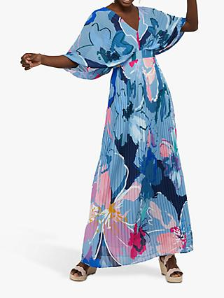 Monsoon Erica Pleated Floral Print Kaftan Dress, Blue/Multi