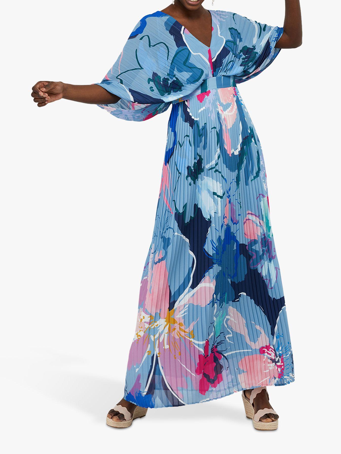 Monsoon Monsoon Erica Pleated Floral Print Kaftan Dress, Blue/Multi