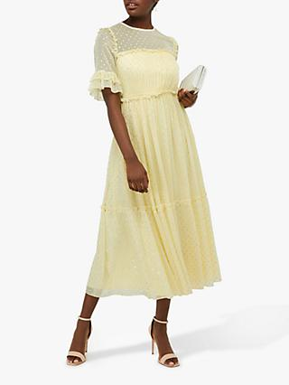 Monsoon Dafne Embroidered Tiered Dress, Yellow