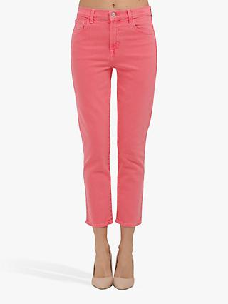 J Brand Ruby High Rise Straight Cropped Jean, Pink Coral