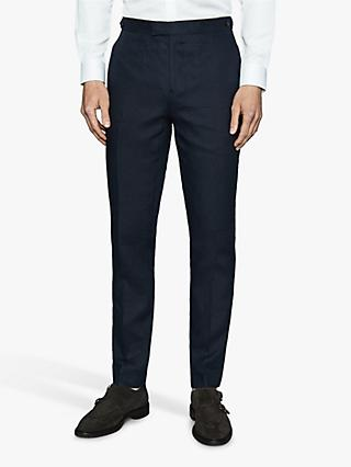 Reiss Brosnon Slim Fit Linen Suit Trousers, Navy