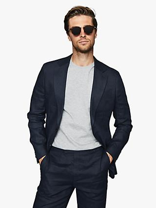 Reiss Brosnon Slim Fit Linen Suit Jacket, Navy