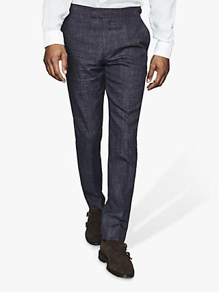 Reiss Prima Textured Linen Wool Slim Fit Suit Trousers, Navy