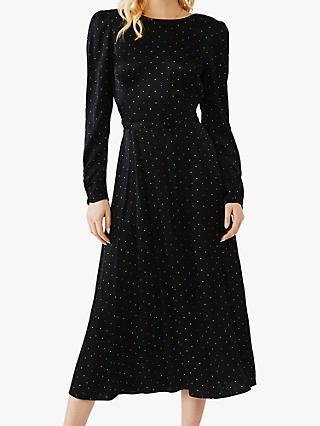 Ghost Lili Spotted Midi Dress, Happy Spot Black
