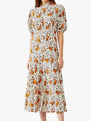 Ghost Luella Pineapple Print Midi Dress, White/Orange