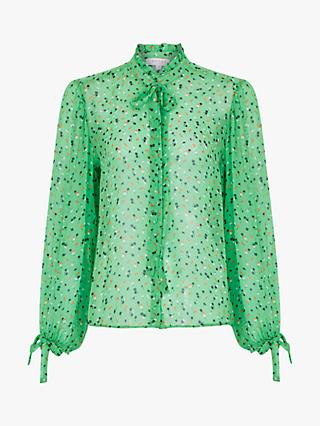 Ghost Cardi Ditsy Print Tie Neck Sheer Blouse, Green/Multi