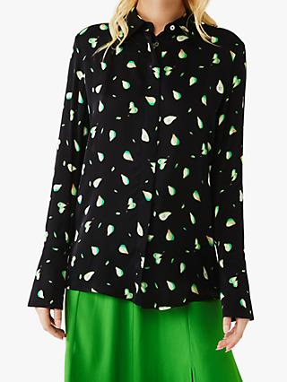 Ghost Camille Pear Print Satin Blouse, Black