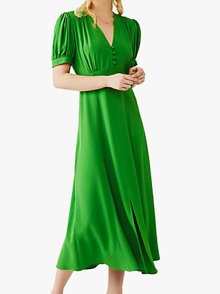 Ghost Margo Satin Back Crepe Dress, Bright Green