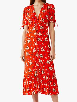 Ghost Maddy Floral Midi Dress, Paloma Bouquet Red