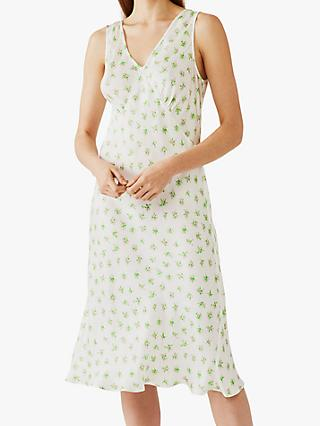 Ghost Floral Print Sleeveless Summer Dress, White/Green