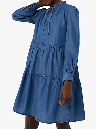 Warehouse Tiered Denim Tie Neck Dress, Mid Wash Denim