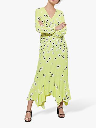 Mint Velvet Juliet Floral Print Midi Dress, Yellow/Multi
