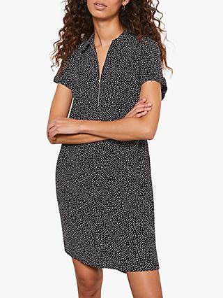 Mint Velvet Spotted Short Sleeve Shirt Dress, Dark Blue