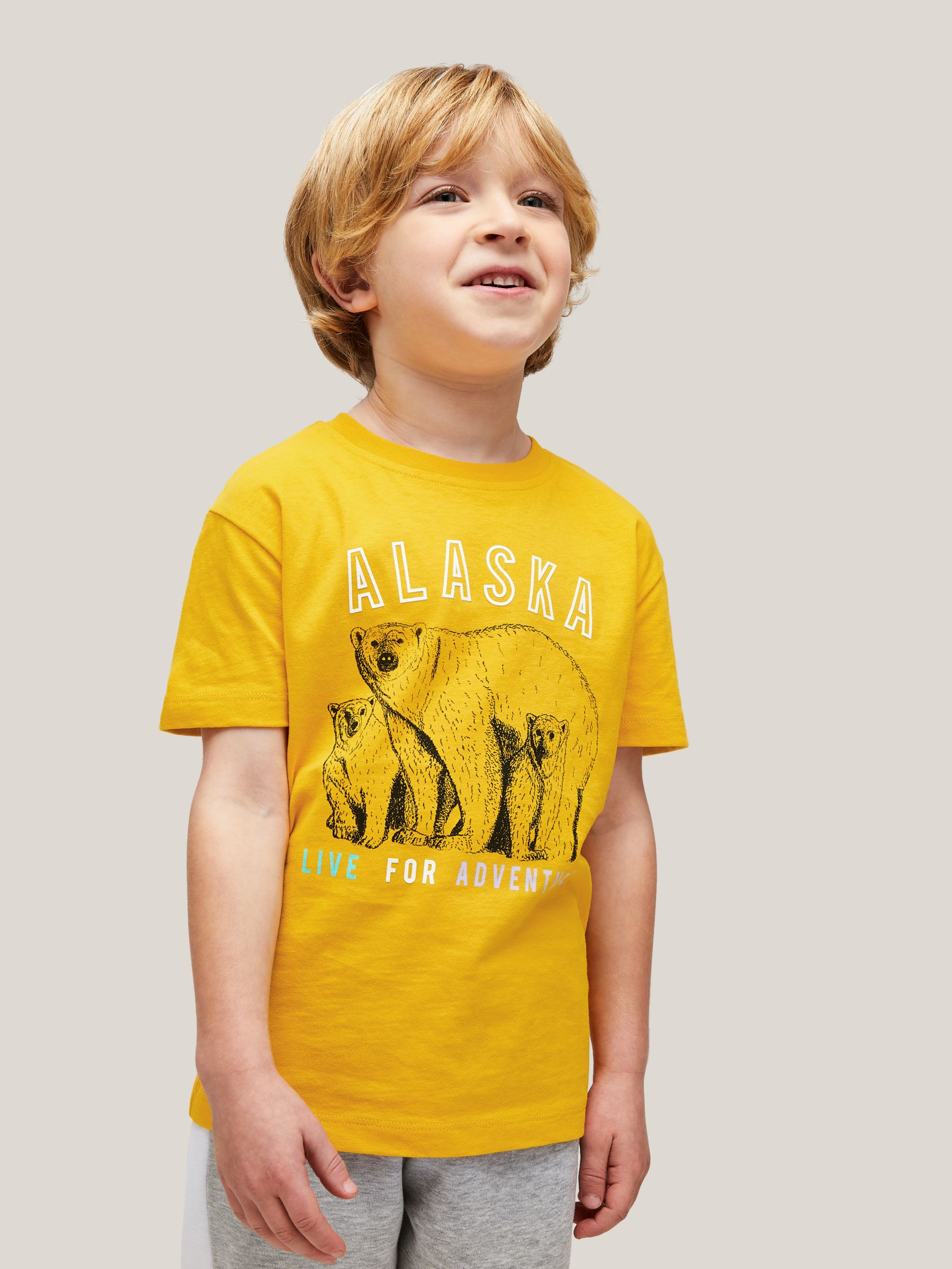 John Lewis & Partners X Natural History Museum Children's Alaska Polar Bear T-Shirt, Yellow