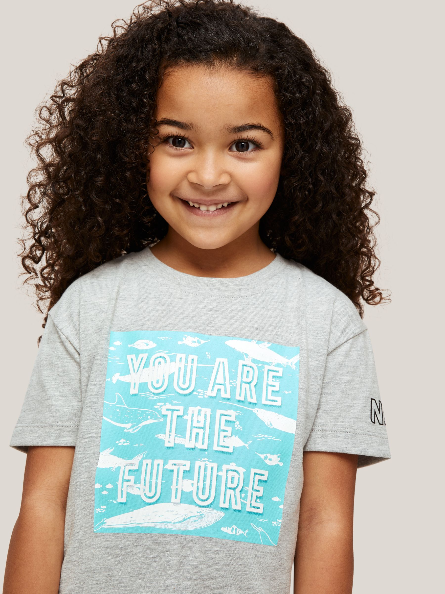John Lewis & Partners X Natural History Museum Children's You Are The Future Graphic T-Shirt, Grey