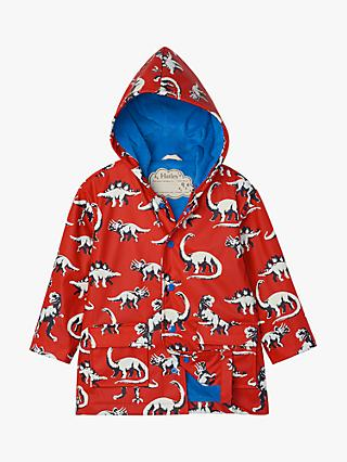 Hatley Boys' Dinosaur Colour Changing Raincoat, Red