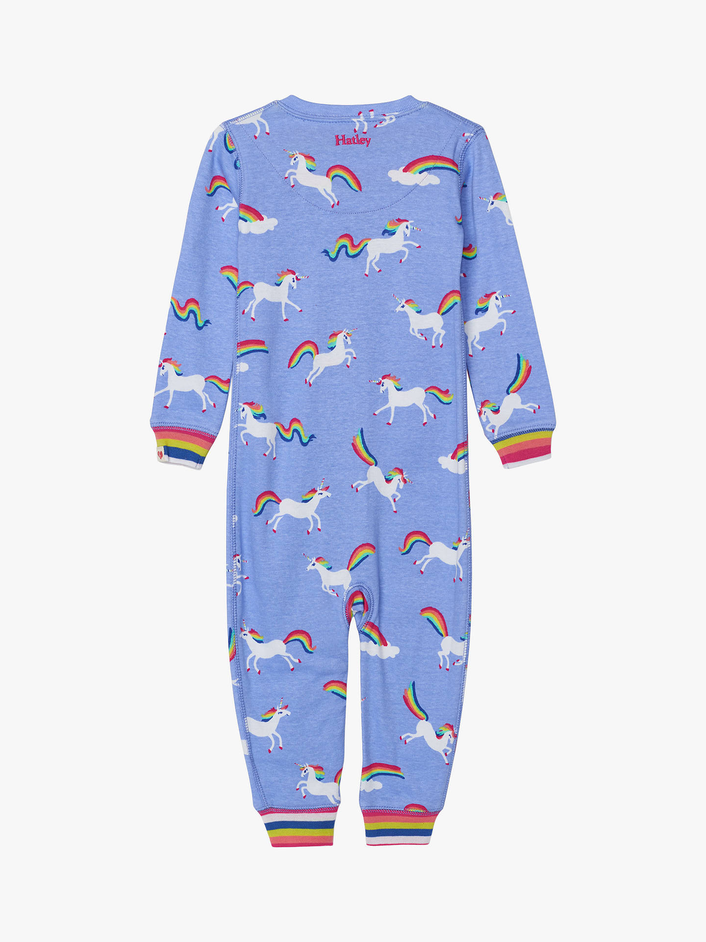 Buy Hatley Baby Organic Cotton Unicorn Stripe Sleepsuit, Purple, 9-12 months Online at johnlewis.com