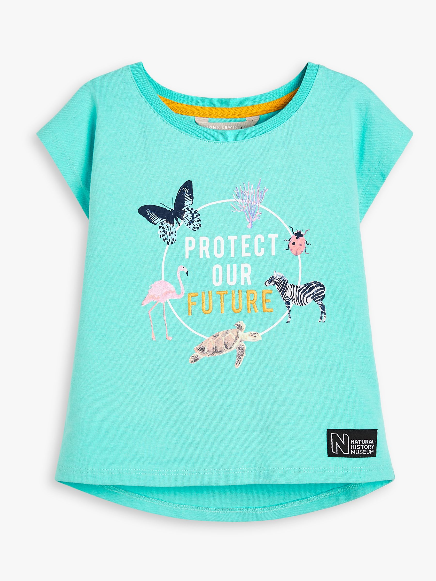 John Lewis & Partners X Natural History Museum Children's Protect Our Future T-Shirt, Turquoise