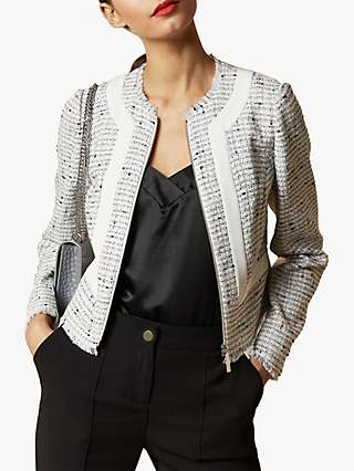 Ted Baker Adala Cropped Contrast Stripe Jacket, Ivory