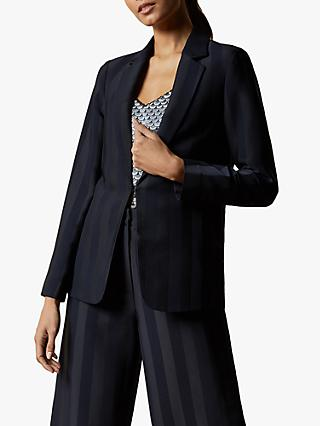 Ted Baker Daryaat Striped Blazer, Navy Blue