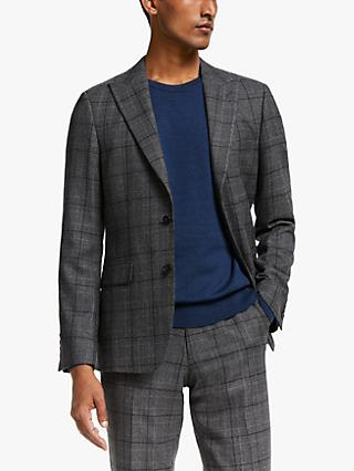 John Lewis & Partners Glen Check Wool Suit Jacket, Charcoal