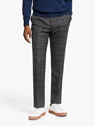 John Lewis & Partners Glen Check Wool Suit Trousers, Charcoal