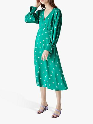Finery Shiloh Spotted Midi Dress, Green